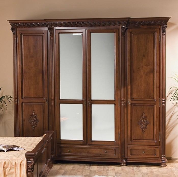 Гардероб 4 врати Venetia Lux - арт мебели естествено дърво