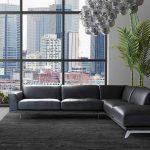 Кожен диван с лежанка - Artu