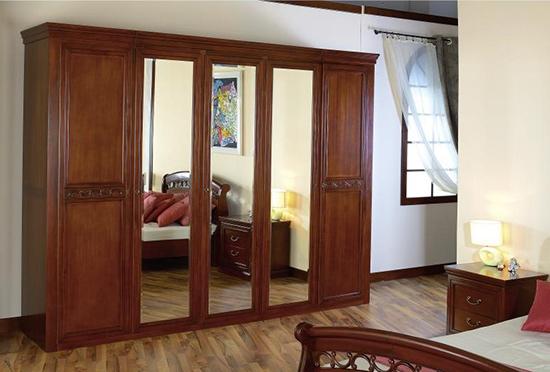 Гардероб с пет врати Anastasia - арт мебели естествено дърво