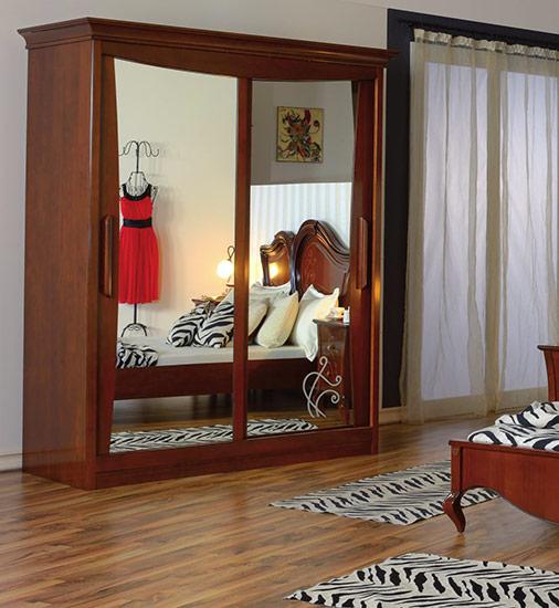 Гардероб с плъзгащи врати KP200 Capri - арт мебели естествено дърво