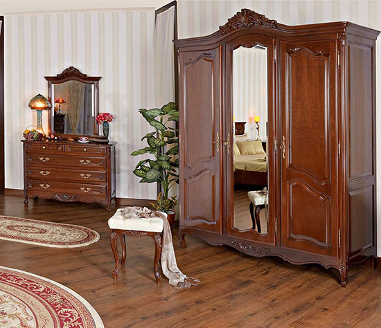 Гардероб три врати Mogador - арт мебели естествено дърво