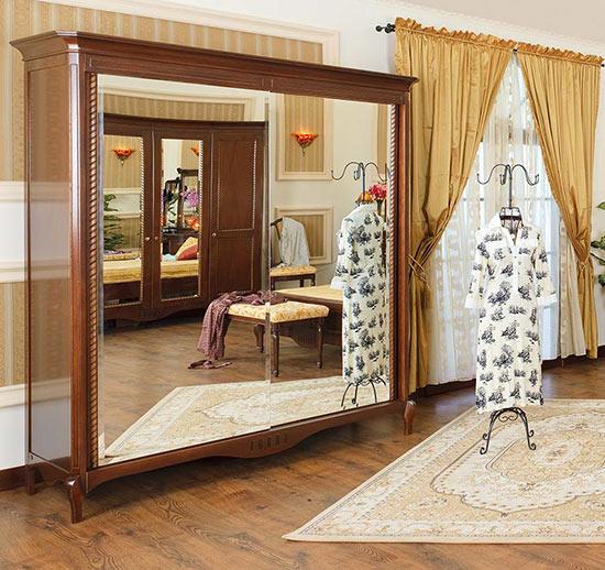 Гардероб с плъзгащи врати Paris-M - арт мебели естествено дърво