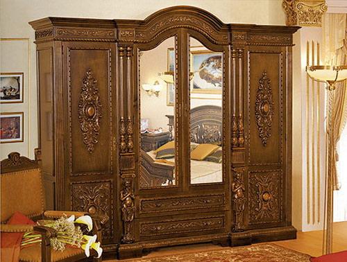Гардероб с четири врати Florenta - арт мебели естествено дърво