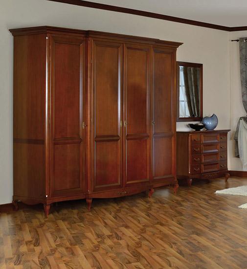 Гардероб с четири врати Vivere - арт мебели естествено дърво