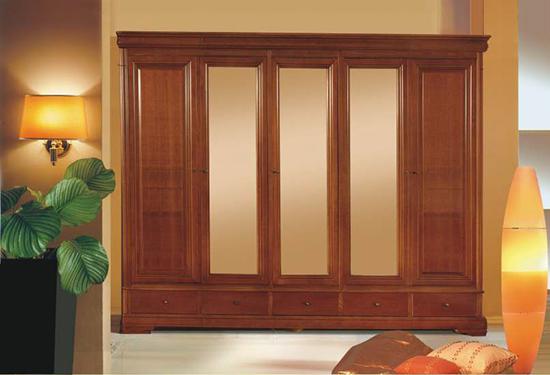 Гардероб с пет врати Jasmin - арт мебели естествено дърво