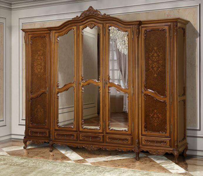 Гардероб 5 врати Cleopatra - арт мебели естествено дърво