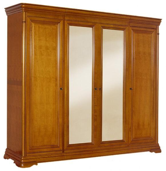 Гардероб с 4 врати Elegance - арт мебели естествено дърво