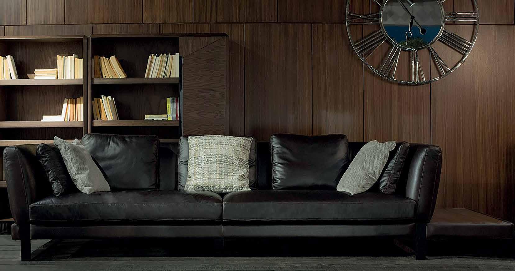 Черен диван Juliette - арт мебели естествено дърво